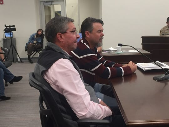 (From left)-Jim Stovall, district manager of the BLM Pecos District and Ty Allen, assistant field manager, address the Eddy County Board of Commissioners Oct. 16, 2018 on the Carlsbad Resource Management Plan.