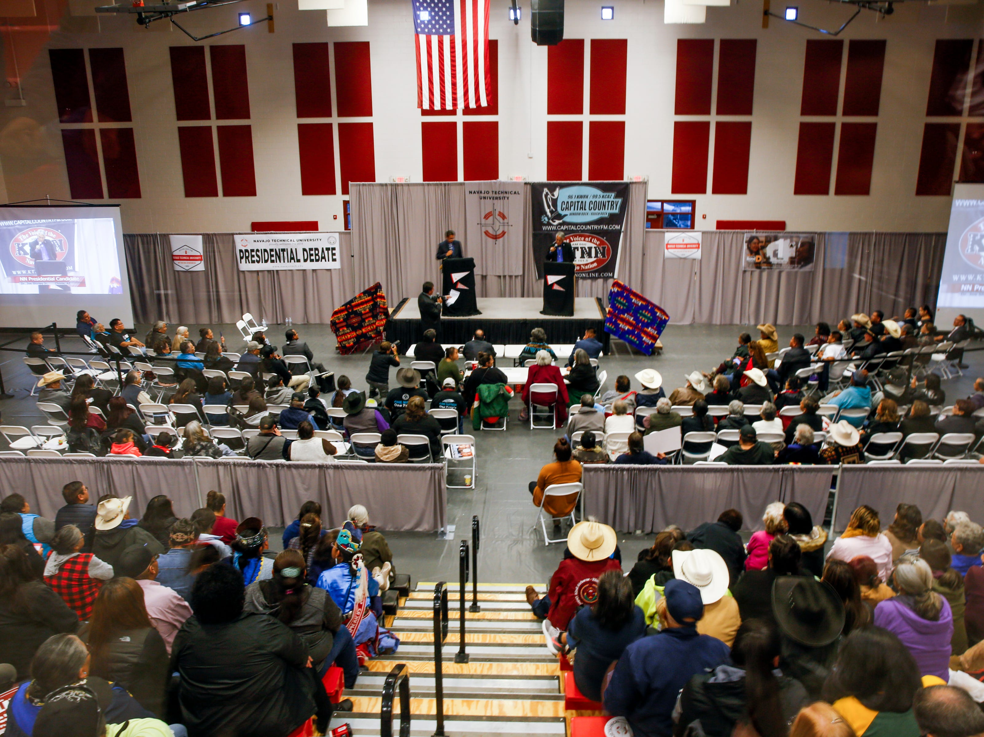 Navajo Nation Presidential candidates, Jonathan Nez and Joe Shirley Jr., participated in a debate Tuesday, Oct. 16, 2018 at Navajo Technical University's    Wellness Center in Crownpoint.