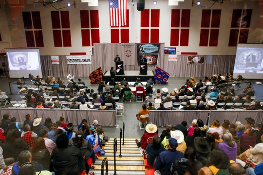 Navajo Nation presidential candidates Jonathan Nez, left, and Joe Shirley Jr. participate in a debate Tuesday at Navajo Technical University's Wellness Center in Crownpoint.