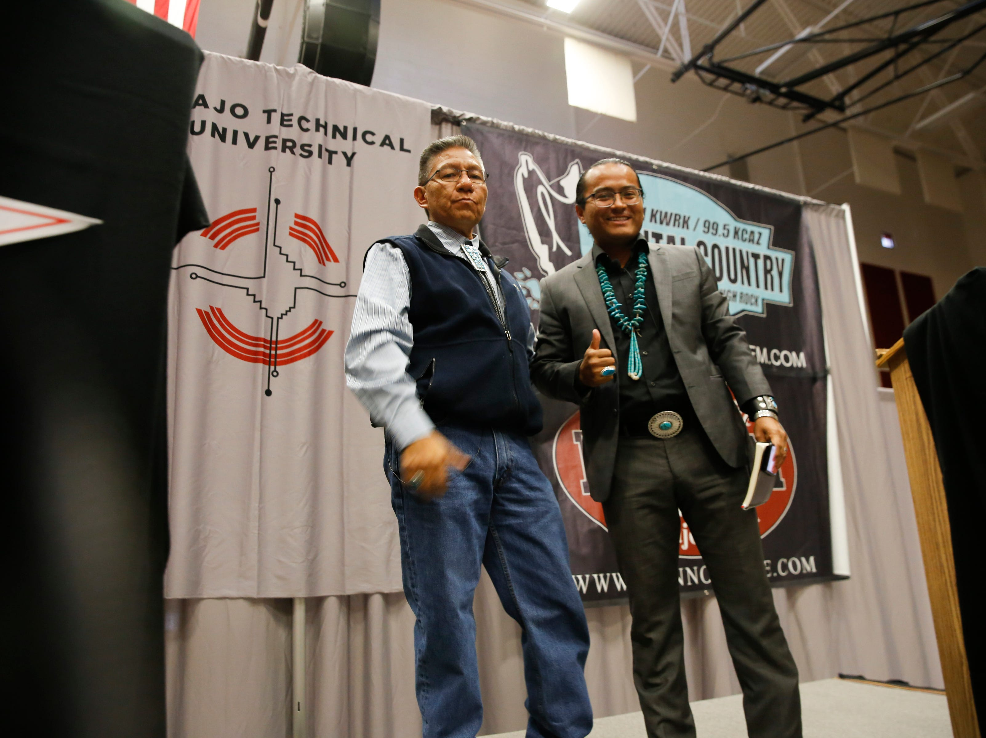 Navajo Nation Vice President candidates Myron Lizer, left, and Buu Nygren acknowledge their supporters at the conclusion of their debate, Tuesday, Oct. 16, 2018 at Navajo Technical University's Wellness Center in Crownpoint.