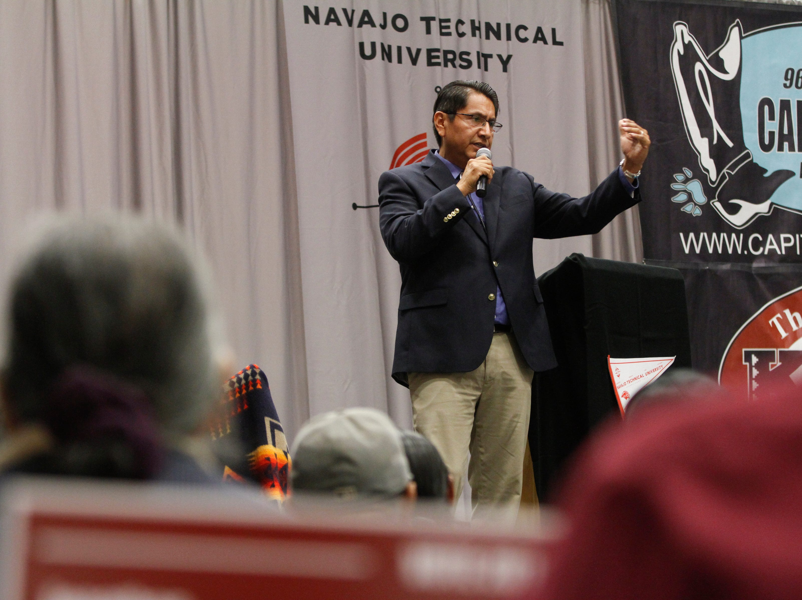 Navajo Nation Presidential Candidate, Vice President Jonathan Nez answers a question during a Navajo Nation Presidential debate, Tuesday, Oct. 16, 2018 at Navajo Technical University's  Wellness Center in Crownpoint.
