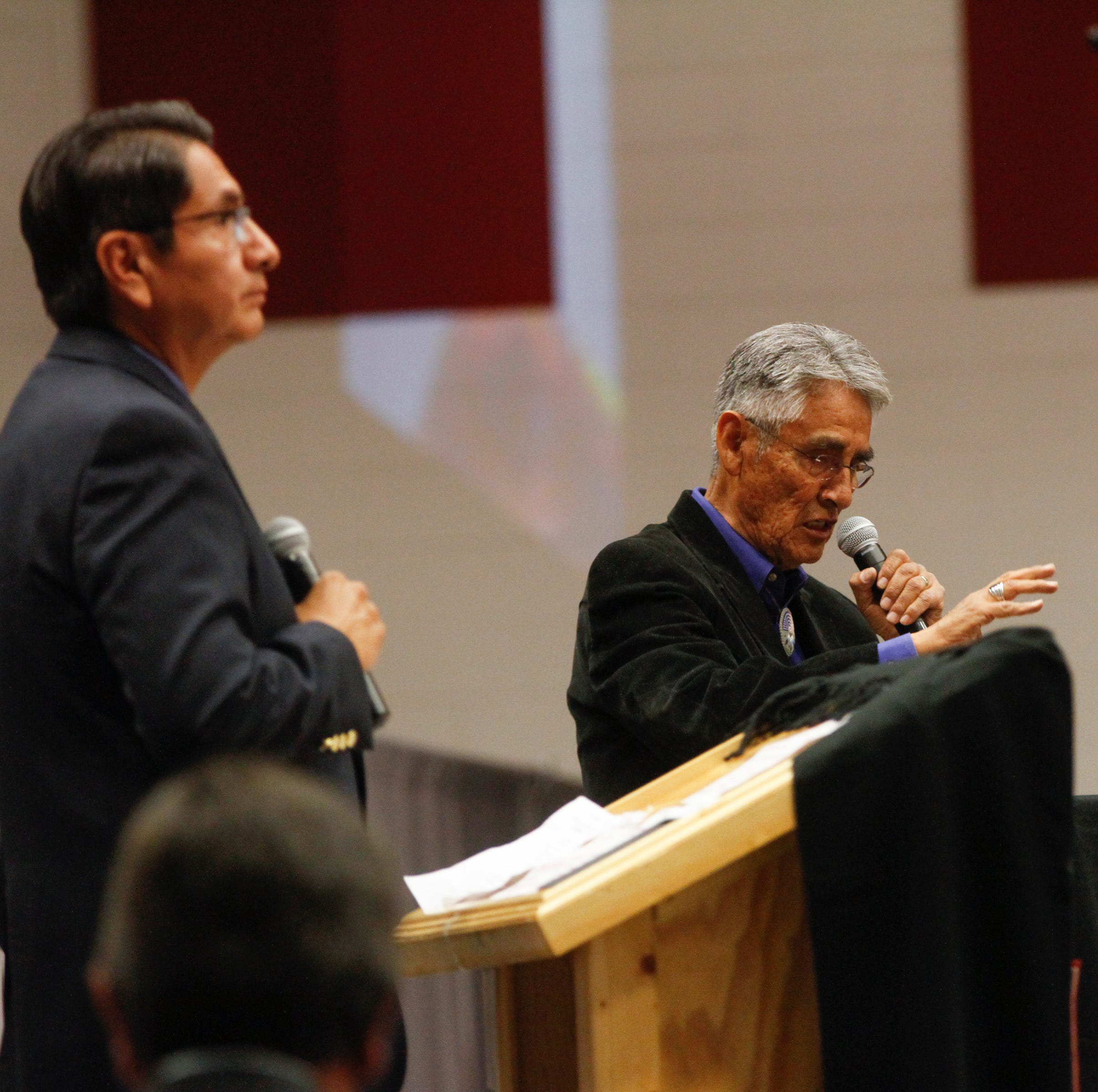 Navajo Nation Presidential candidates, Jonathan Nez, left, and Joe Shirley Jr. answer questions during a debate, Tuesday, Oct. 16, 2018 at Navajo Technical University's Wellness Center in Crownpoint.