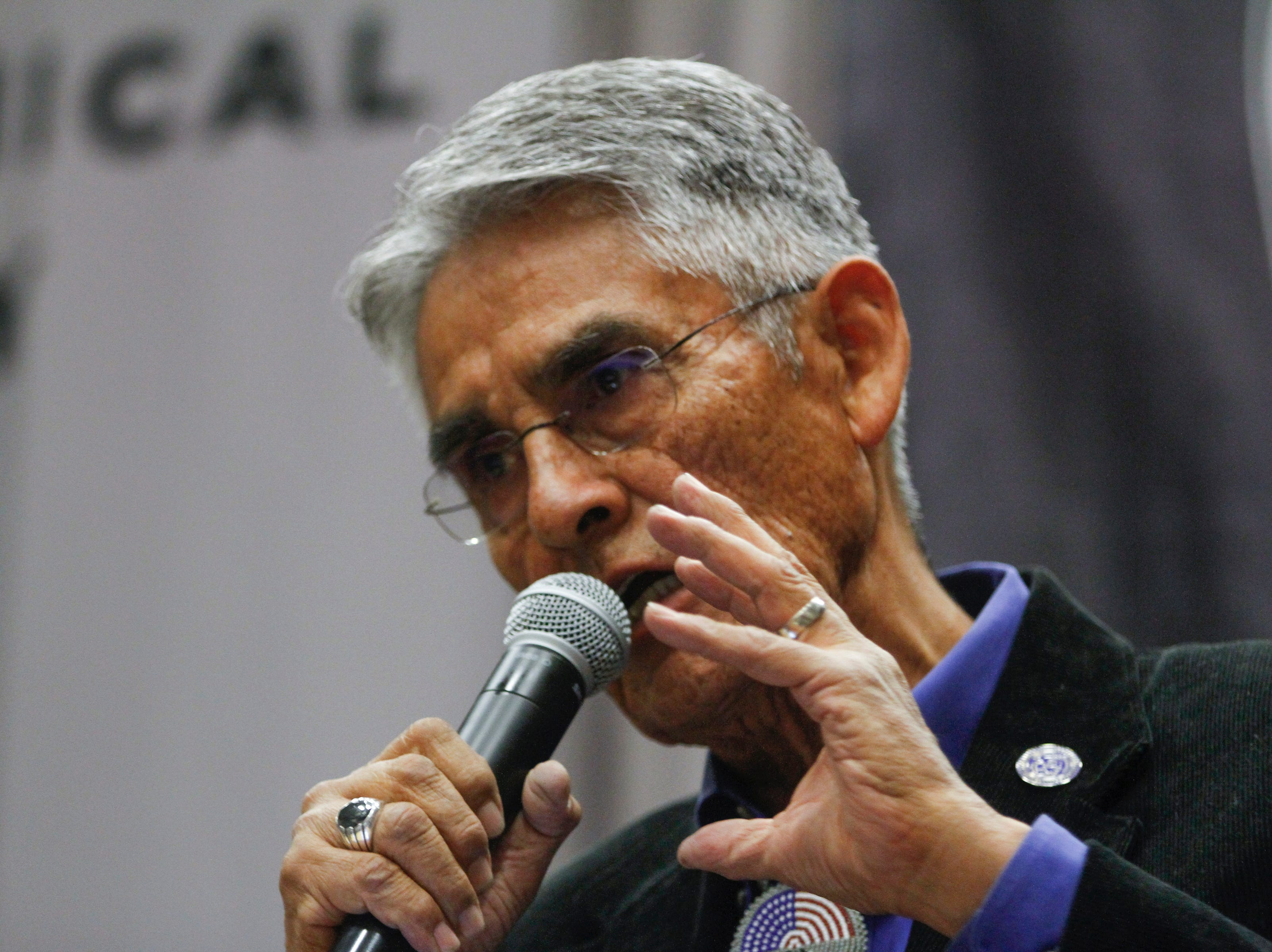 Navajo Nation Presidential candidate Joe Shirley Jr., gives his closing remarks, Tuesday, Oct. 16, 2018 at the conclusion of the 2018 Navajo Nation Presidential Debate held at Navajo Technical University's  Wellness Center in Crownpoint.
