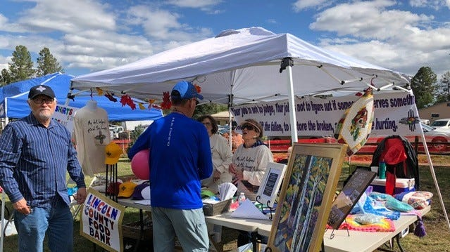 The Lincoln County Food Bank booth was a popular stop during Aspenfest celebrations at Wingfield Park.