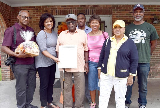 Residents attending the 17th annual Waxia Community Reunion, from left, Jewell and Renee H. Saunders, Carlton. Hardy, Lee Roy and Lue Delle H. Bob, Maurice H. Harris.  and Kenneth Hardy.