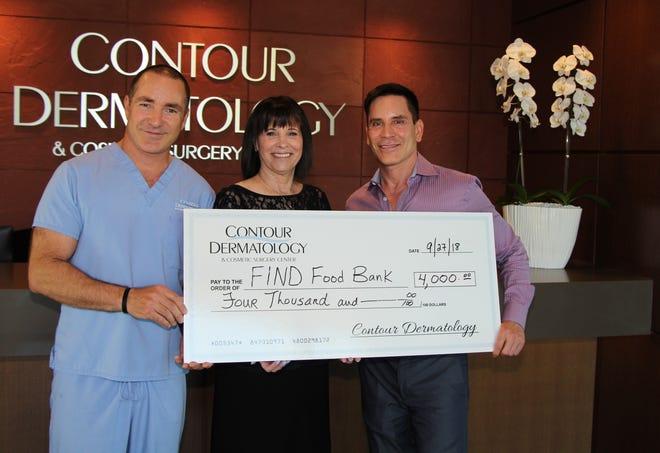 (L-R) Lee Erwin, Executive Director, Contour Dermatology, Barbara Ben-David, Director of Development, FIND Food Bank and Dr. Timothy Jochen