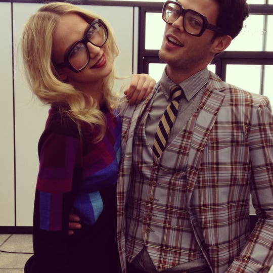 New York City model Ella Petrushko (left) in Mr Turk glasses