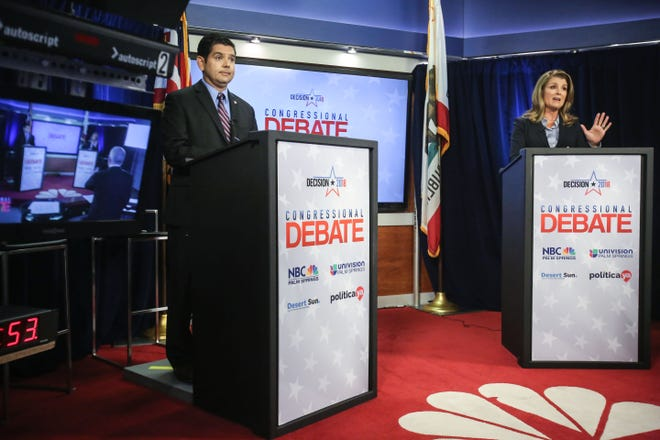 Democratic US Congressman for the 36th District Raul Ruiz M.D. and his Repblican challenger Kimberlin Brown Pelzer is a televise congressional debate on Tuesday, October 16, 2018 at NBC Palm Springs.