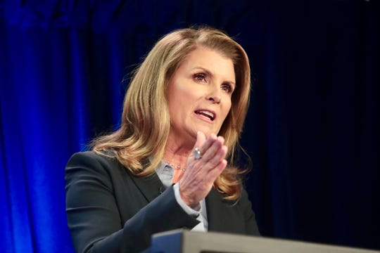 Kimberlin Brown Pelzer talks during the Congressional debate on Oct. 16.