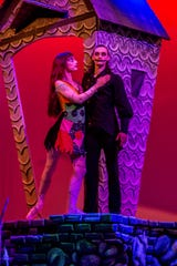 """Scarlett Rustemeyer, portraying Sally, and Dustin Simmons, portraying Jack Skellington, pose during a rehearsal of Ballet Pensacola's production of """"The Nightmare Before Christmas"""" on Tuesday, Oct. 16, 2018, at the Pensacola Little Theatre."""