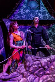 """Scarlett Rustemeyer, portraying Sally, and Dustin Simmons, portraying Jack Skellington, pose during a rehearsal of Ballet Pensacola's production of """"The Nightmare Before Christmas"""" on Tuesday, Oct. 16, 2018, at Pensacola Little Theatre."""
