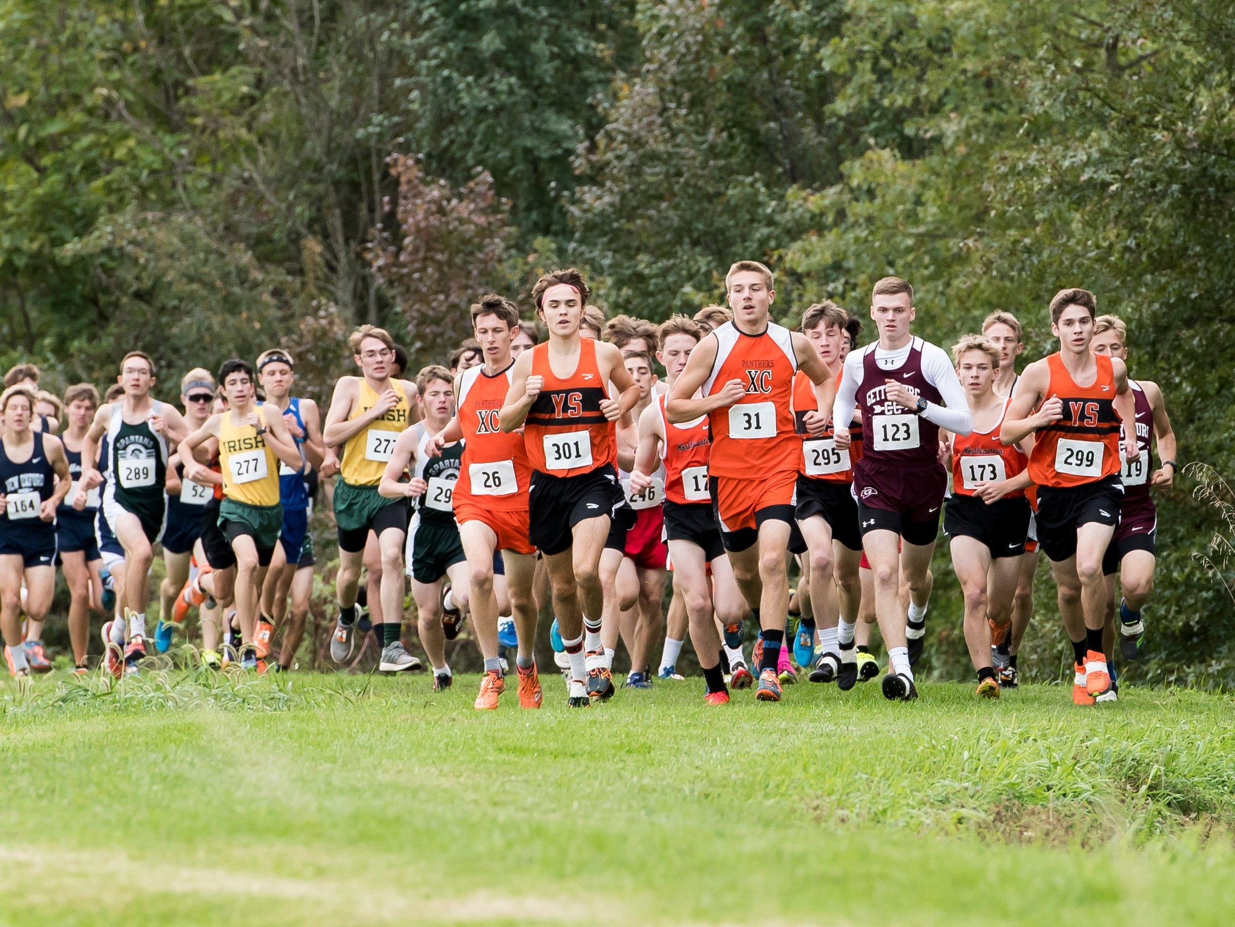 Runners compete in the YAIAA cross country championships at Gettysburg Area High School on Tuesday, October 16, 2018.