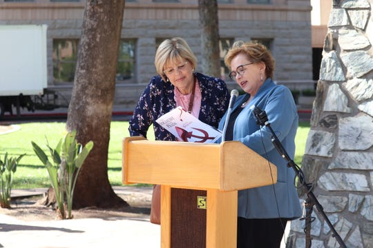 Center for Arizona Policy Action President Cathi Herrod and National Campaign Chair of Susan B. Antony List Jill Stanek stand together before a press conference at the Arizona Capitol