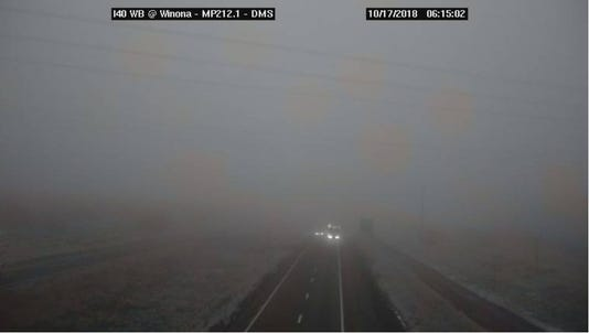 Fog reported on I-40