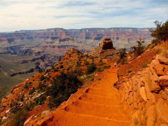 The South Kaibab Trail into Grand Canyon is steep, shadeless and devoid of water. Cedar Ridge, 1.5 miles from the trailhead, makes a good turnaround point.