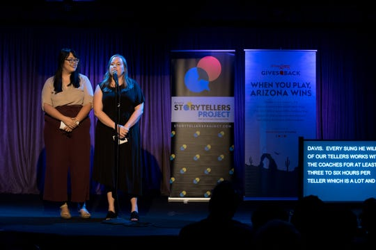 Co-Hosts Kaila White and Lorraine Longhi introduce the storytellers during Arizona Storytellers Project presents Undercover at Crescent Ballroom in Phoenix on Monday, Oct. 8, 2018.