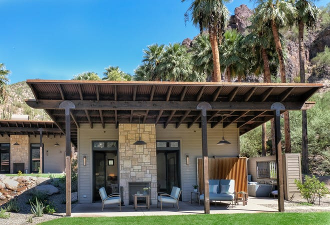 The Spring Bungalows at Castle Hot Springs feature indoor/outdoor fireplaces and spring-fed hot tubs.