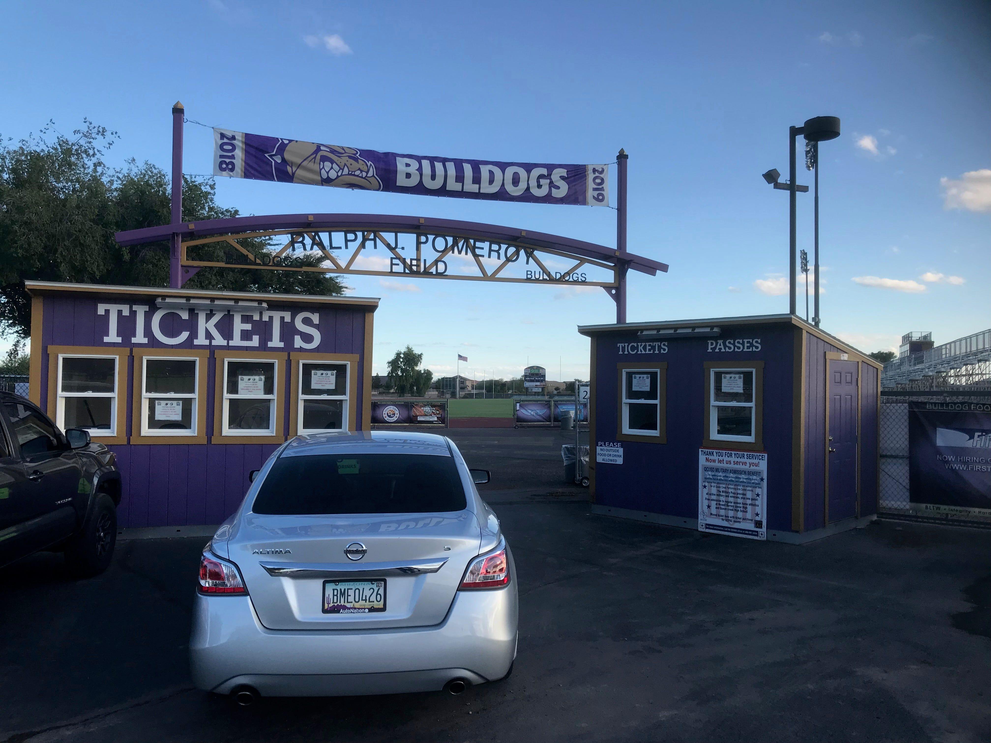 Queen Creek High School's football stadium entrance.