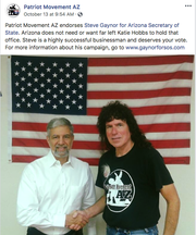 A screenshot of Steve Gaynor's endorsement from the Patriot Movement AZ, which was posted on Facebook.