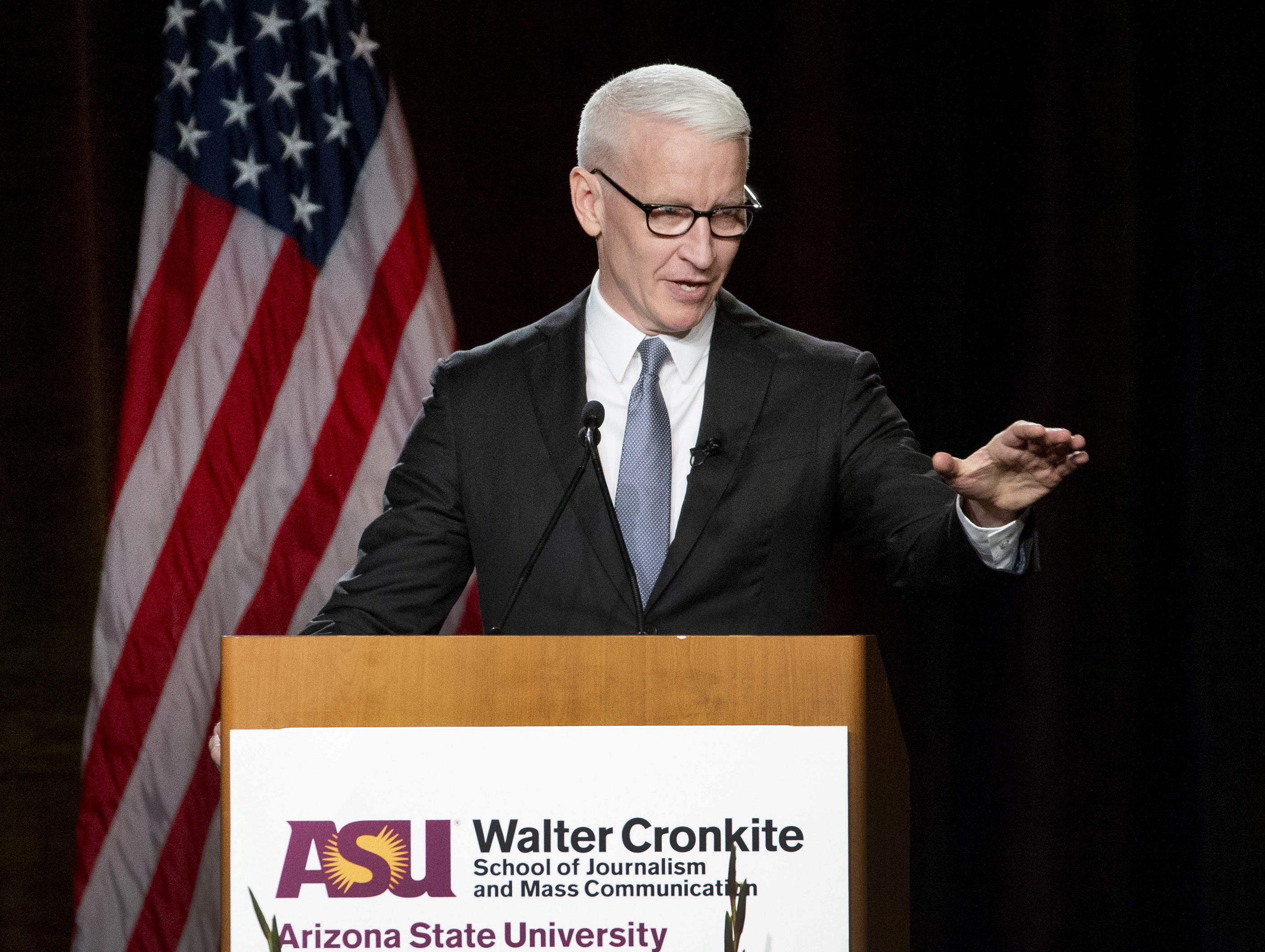 CNN anchor Anderson Cooper speaks after receiving  the annual Cronkite award for excellence in journalism during a luncheon at the Sheraton in Phoenix on October 17, 2018.