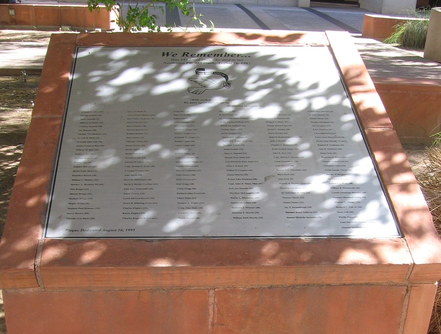 A memorial to 156 people who died Aug.16, 1987 , in the Northwest Flight 255 crash.