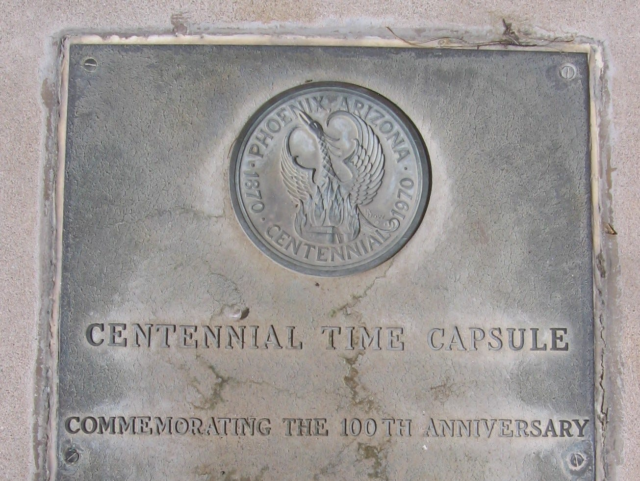 Phoenix Time Capsule south of the Calvin Goode Building