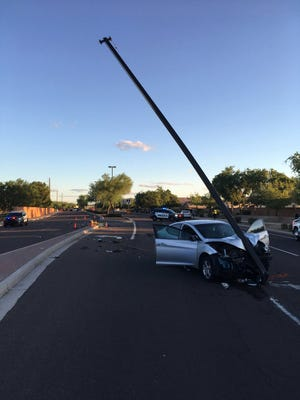 Val Vista Drive is closed between Ray and Williams Field roads after a four-vehicle collision on Tuesday.