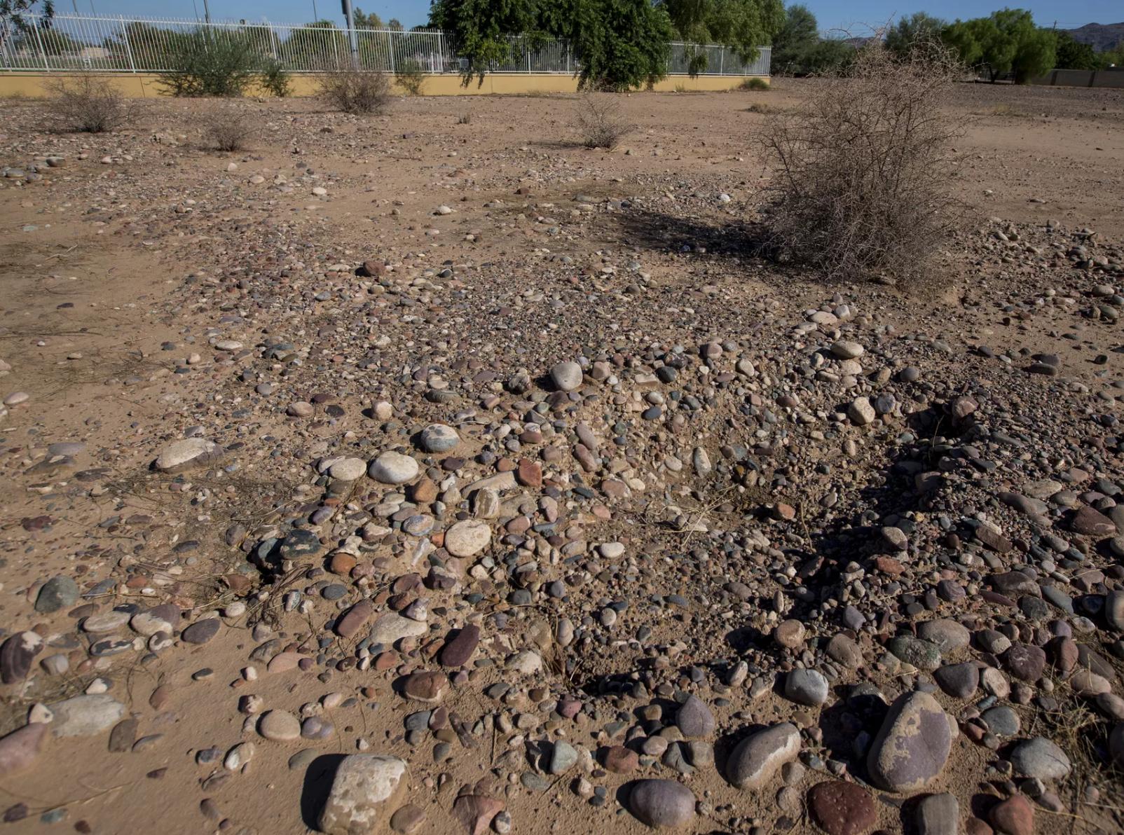 En la foto se observa una tumba saqueada en el cementerio Sotelo-Heard de Phoenix, a la cual le robaron una cruz de hierro. Algunas lápidas del cementerio histórico se han trasladado a su ubicación actual para evitar la vandalización.