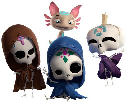 """El pequeño ajolote Axel y """"Popo"""", """"Cate"""" y """"Petl"""" tres calaveritas de azúcar, protagonistas de """"Sugar Skulls""""."""