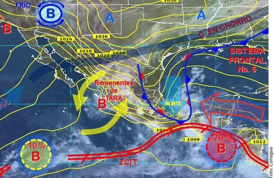 Debido a frente frío y remanentes de 'Tara', se prevén lluvias en 23 estados; en CDMX se pronostican precipitaciones fuertes en el poniente.