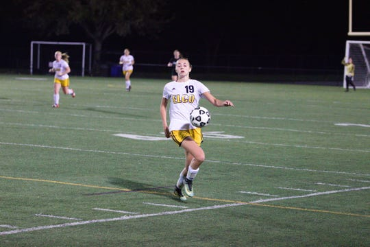 Elco's Natalie Swingholm gains control of the ball during Tuesday night's L-L semifinal win over Hempfield