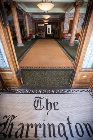 'The Harrington' is spelled out in tile inside the front door of the Harrington Inn in Port Huron. The inn, which was operating as an assisted living center without a license, was closed in 2017.