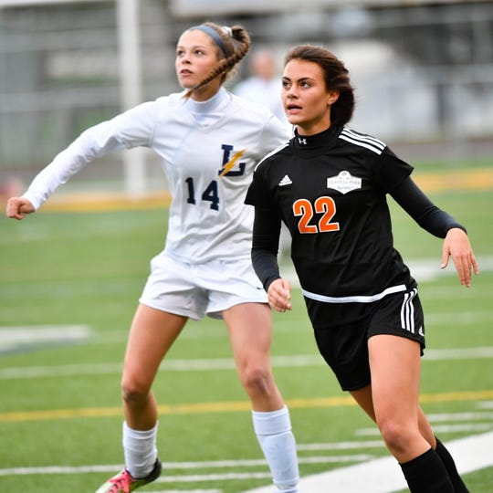 Central York's Chloe Carns (22) watches the ball during the girls soccer game between Littlestown and Central York, October 16, 2018. The Panthers beat the Bolts 6-1.