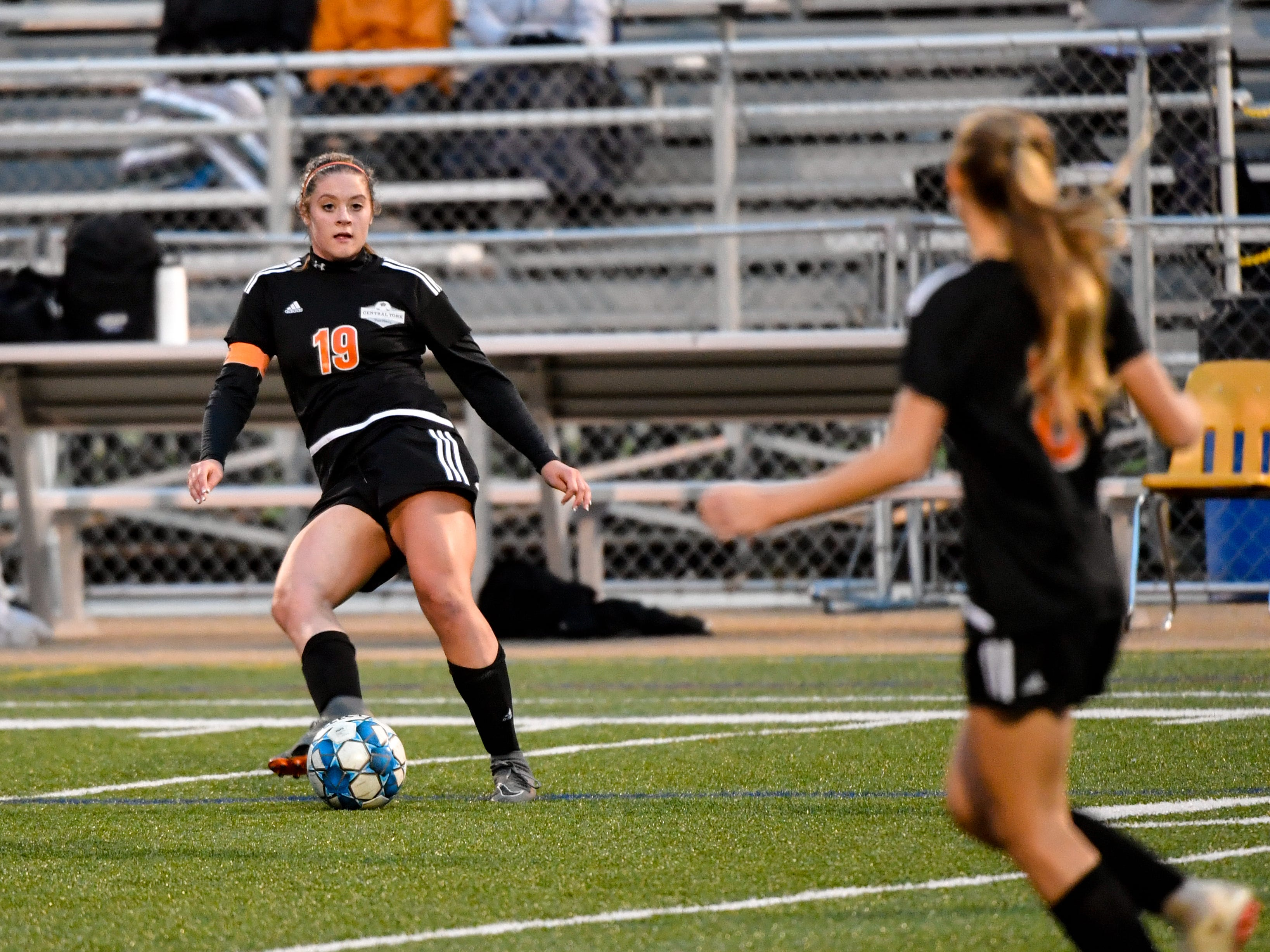 Hannah Ferguson (19) rockets a pass to her teammate during the girls soccer game between Littlestown and Central York, October 16, 2018. The Panthers beat the Bolts 6-1.