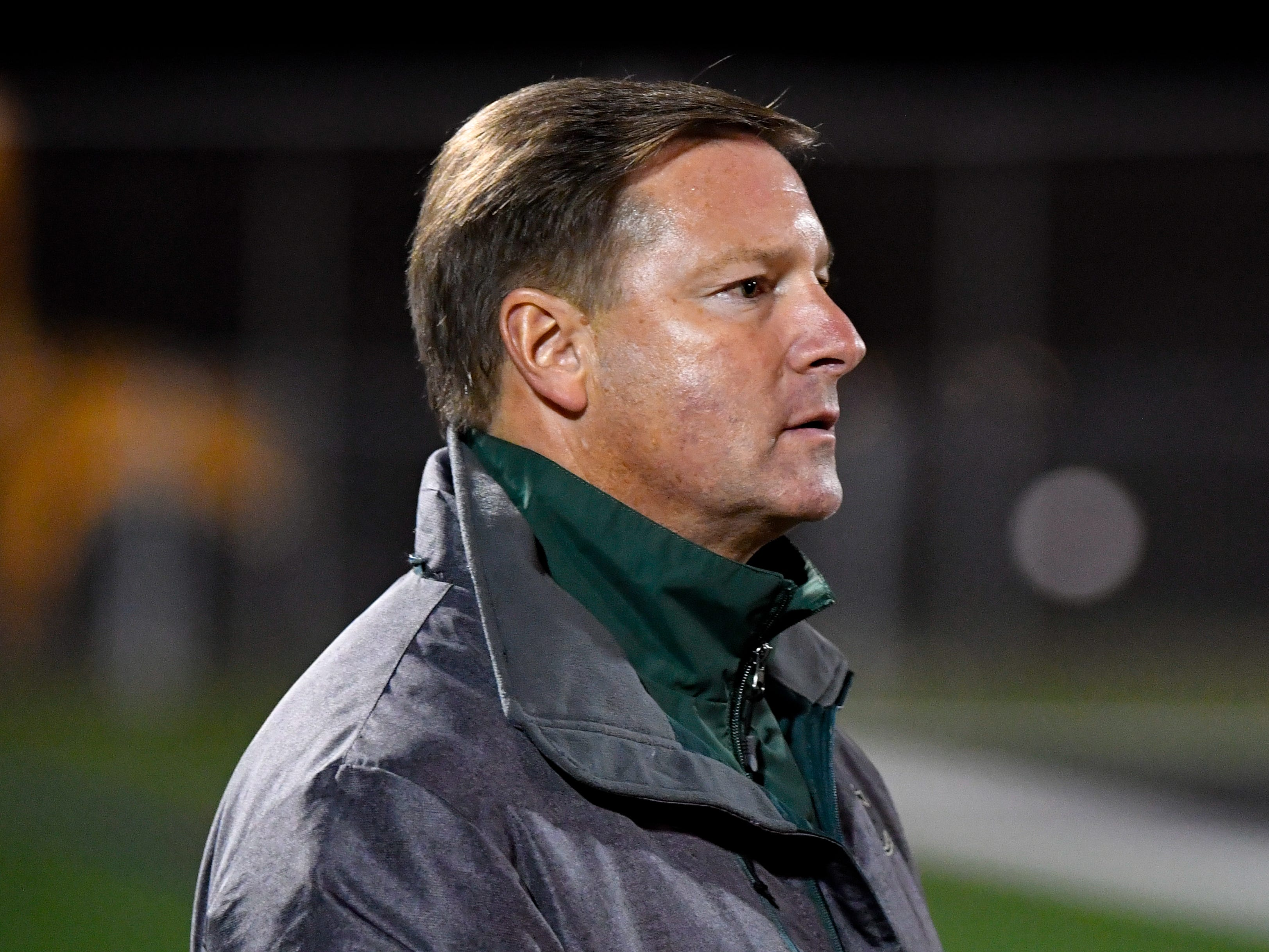 York Catholic coach Joe Nattans watches a free kick during the boys soccer game between South Western and York Catholic, October 16, 2018. The Mustangs beat the Irish 2-1.