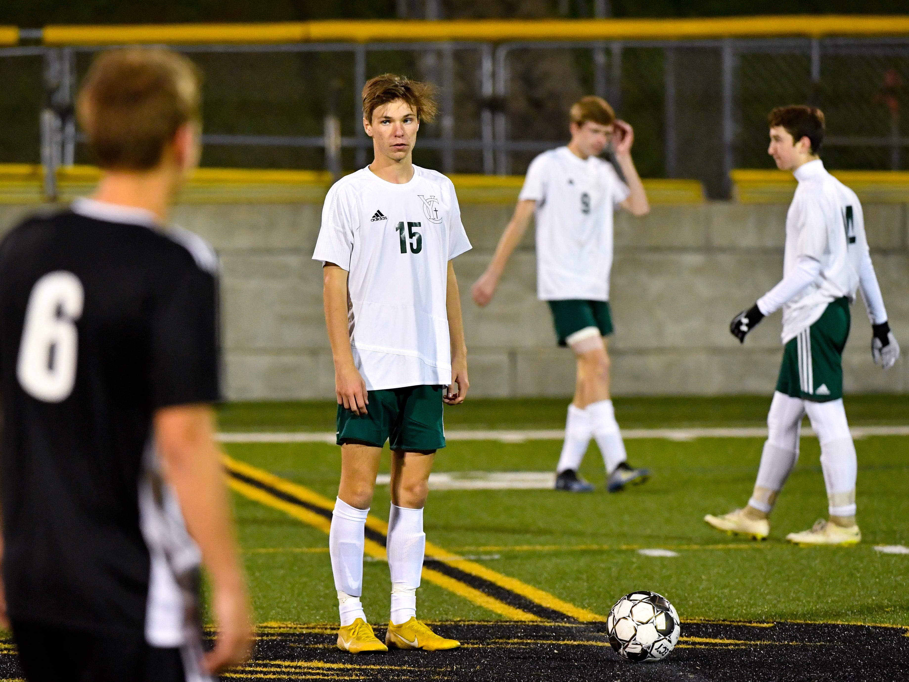 Jonathan Yinger (15) prepares to kick the ball off to start the half during the boys soccer game between South Western and York Catholic, October 16, 2018. The Mustangs beat the Irish 2-1.