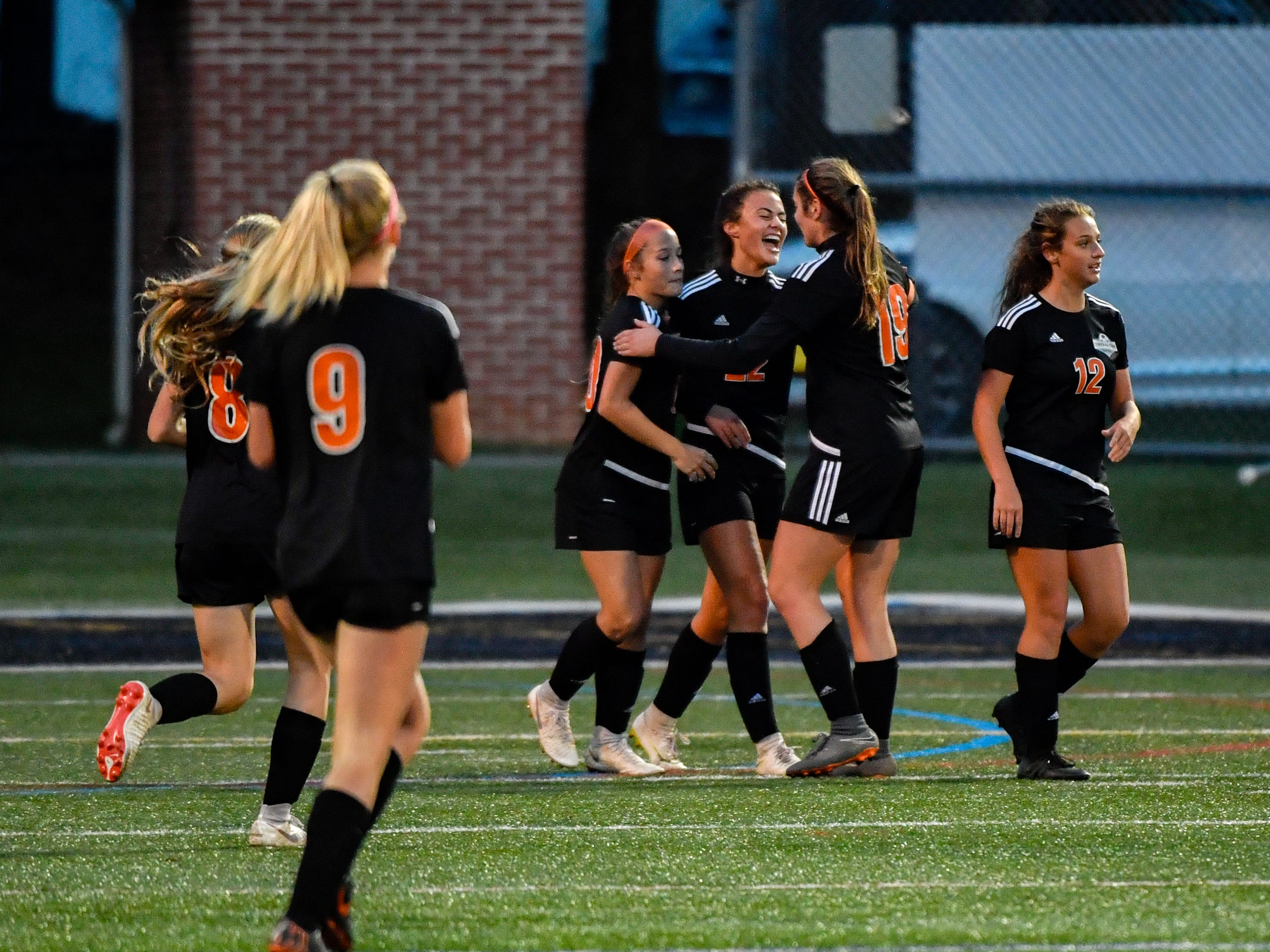 Central York celebrates a goal during the girls soccer game between Littlestown and Central York, October 16, 2018. The Panthers beat the Bolts 6-1.