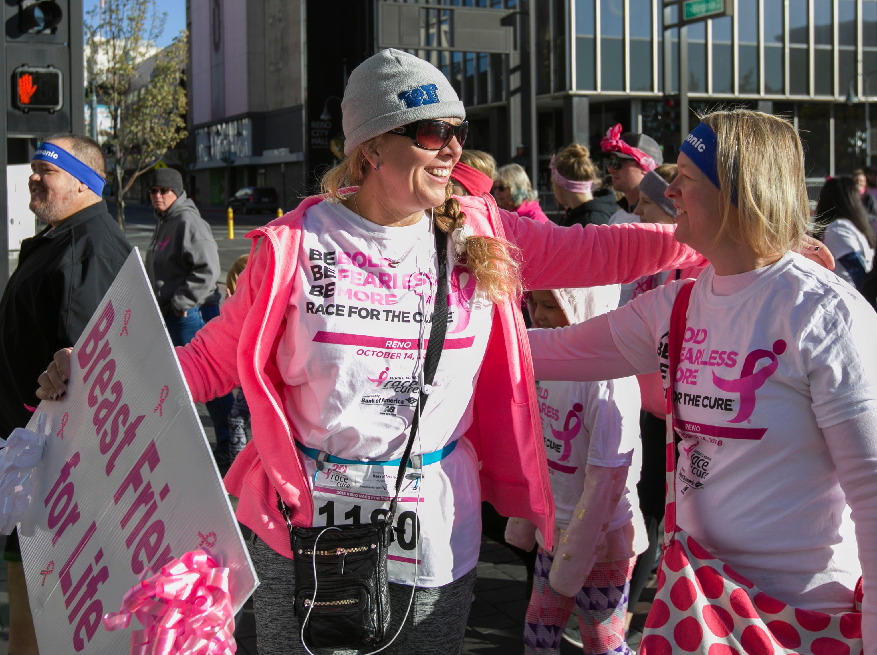 A photograph taken during the Susan G. Komen Race for the Cure on Sunday, October 14,  2018 in downtown Reno.