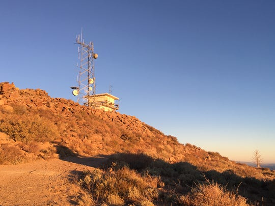 Fire tower and communications equipment on Leviathan Peak near Monitor Pass on Oct. 17, 2018.