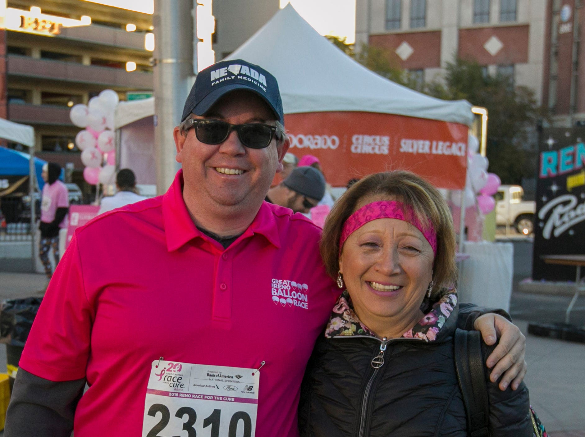 Aaron Dieringer and Rosalinda Rawlings during the Susan G. Komen Race for the Cure on Sunday, October 14,  2018 in downtown Reno.