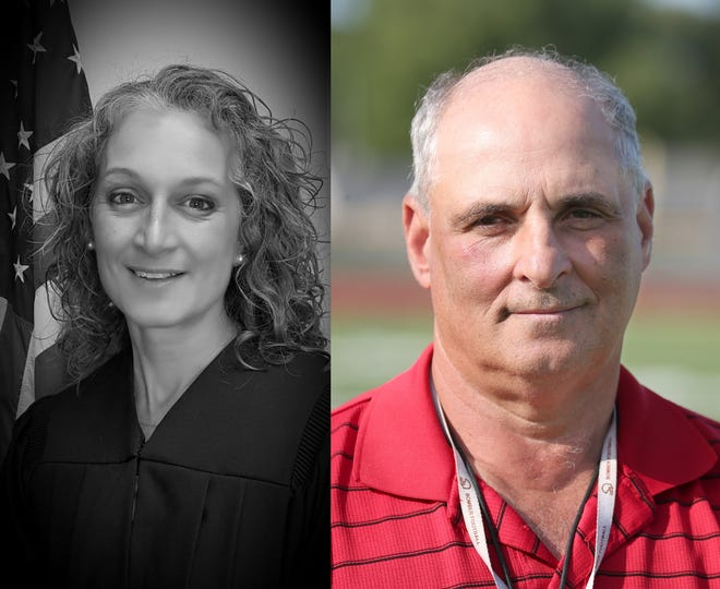 Amy Monachino, left, and Dennis Greco, candidates for East Rochester town justice