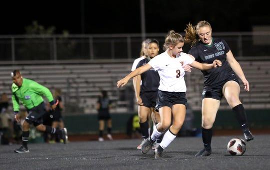 West Salem's Abigail Knoll gets the ball around a Sprague player on Tuesday, Oct. 16 at West Salem High School.