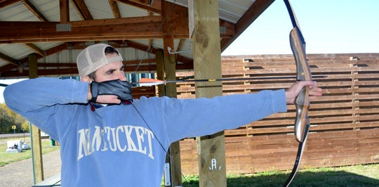 """With practice, archery skills are getting """"better and better,"""" said Sean Maroney of Monmouth, who shoots most Mondays at the E.E. Wilson Wildlife Area Archery Park."""