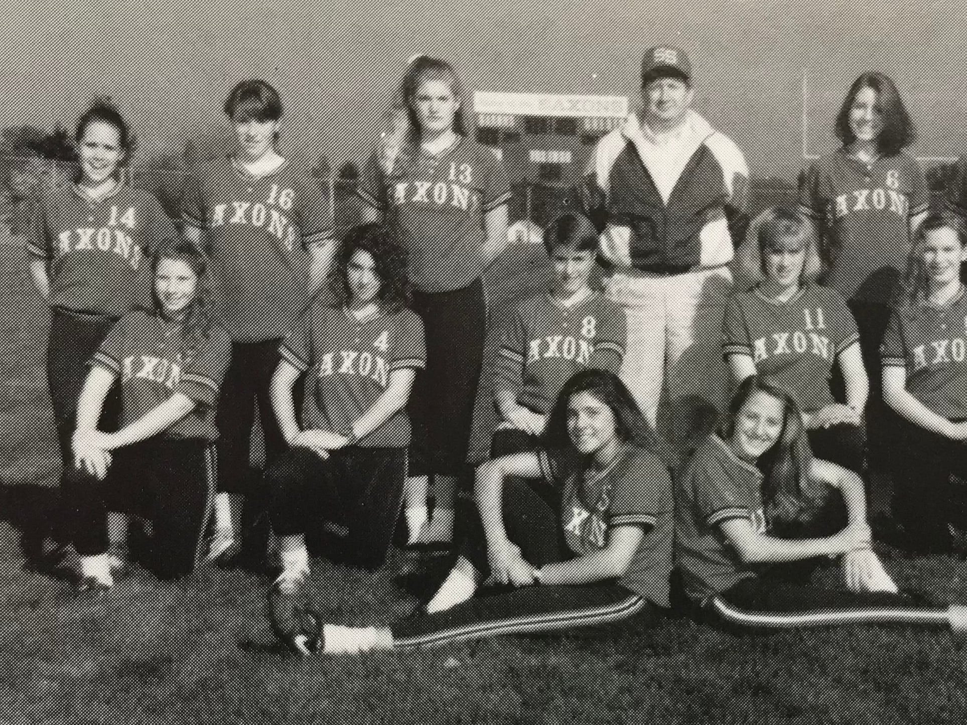 Jamie Davidson, second row, first from the left, played softball at South Salem High School as a freshman in 1992.