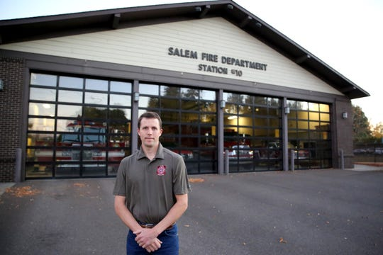 Brandon Silence, a politically active firefighter with the City of Salem, is pictured at Fire Station 10 on Wednesday, Oct. 17 off State Street.