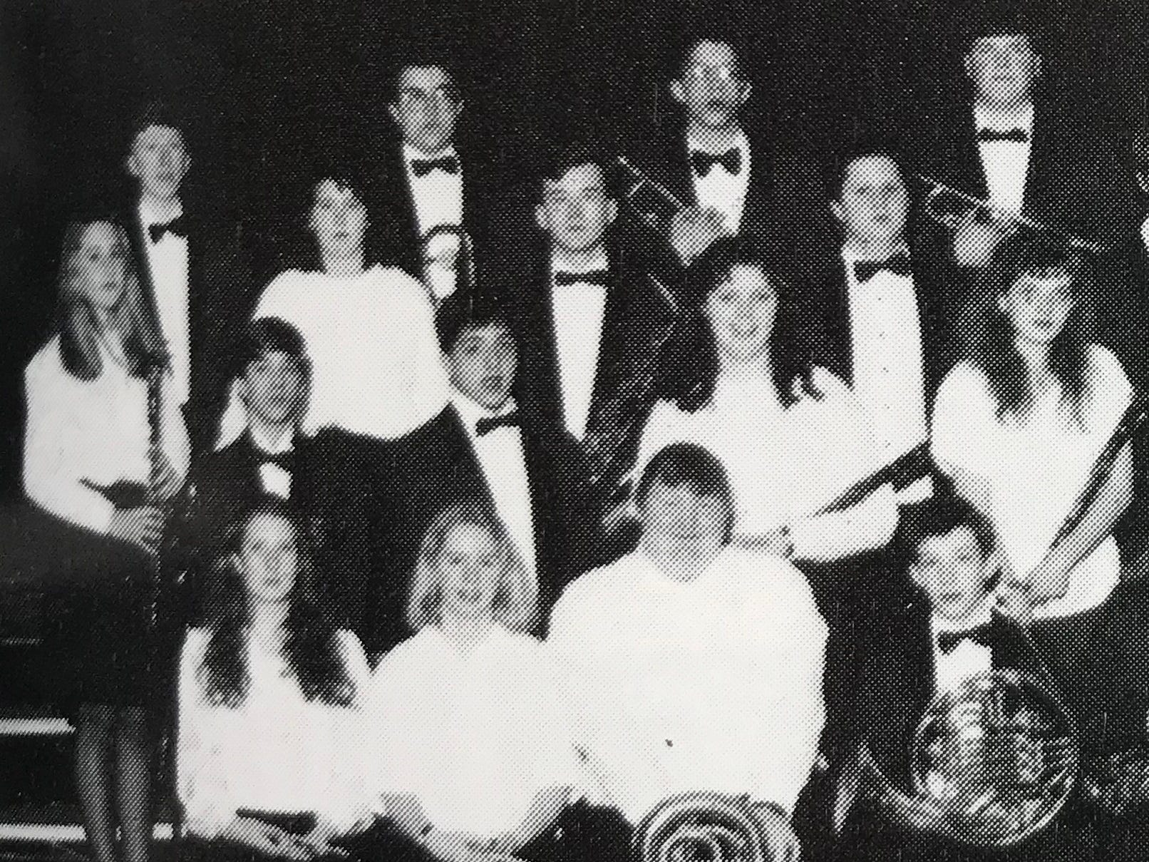 Jamie Davidson played oboe in the South Salem High School Concert Band as a sophomore. She is seated in the front row and first from the left in this photo from the 1993 yearbook.