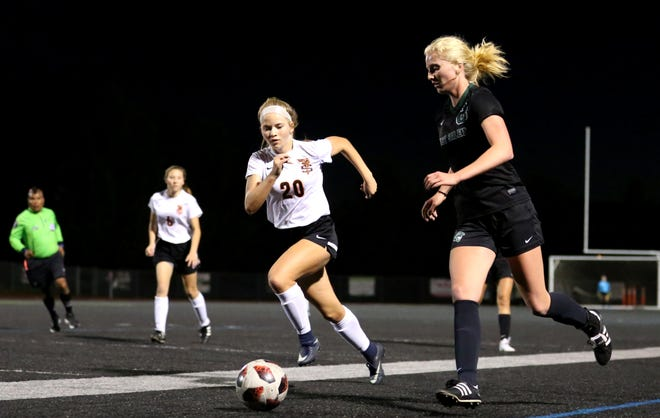 West Salem's Aria Dyson defends the ball on Tuesday, Oct. 16 at West Salem High School. The team is currently tied for first place in the Mountain Valley Conference