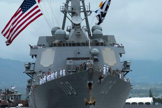 The Arleigh Burke-Class destroyer Wayne E. Meyer (DDG 108), commanded by Salem native Jamie Davidson Hopkins, arrives Sept. 13, 2018 at her new home port of Joint Base Pearl Harbor-Hickam.