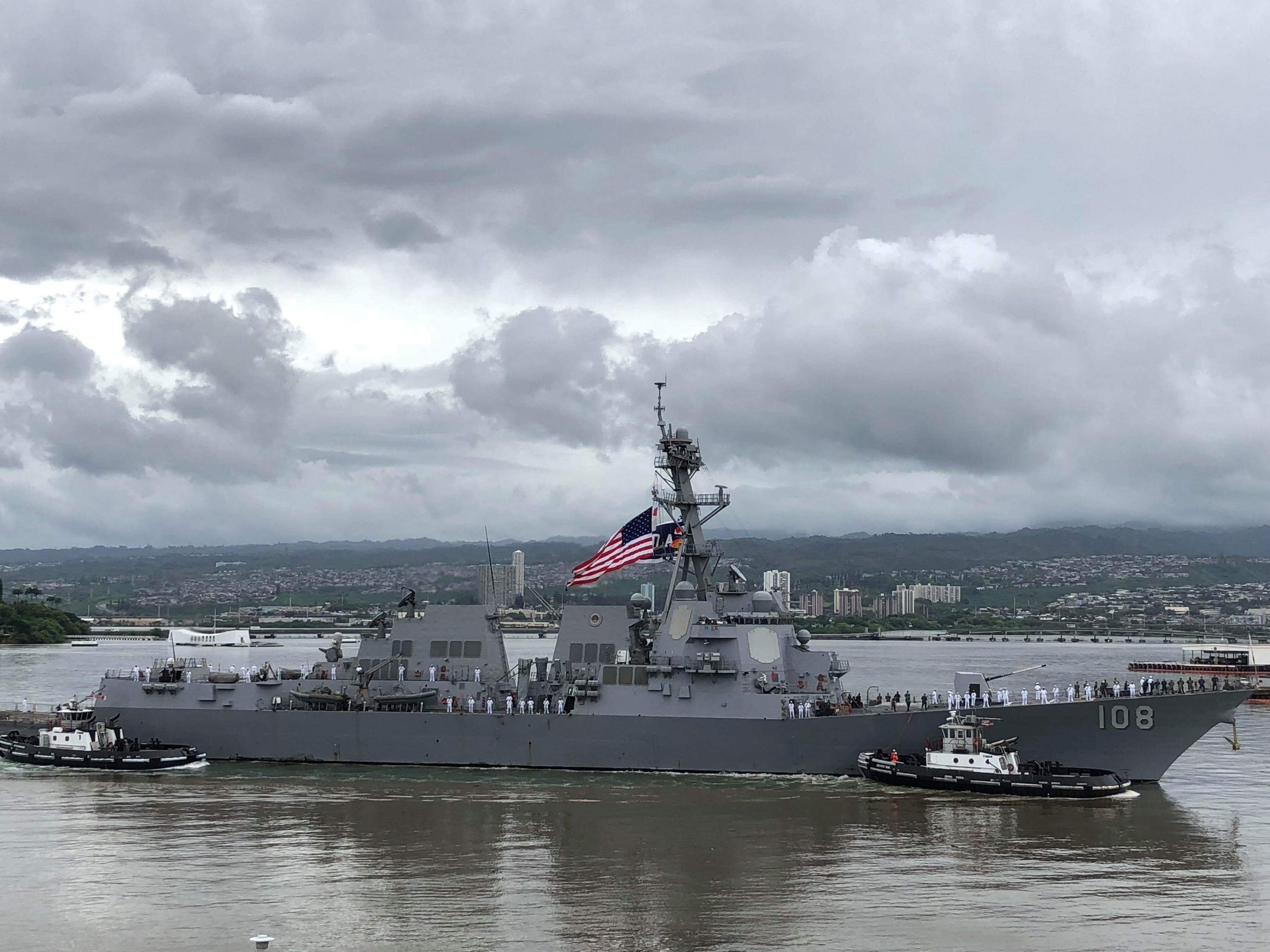 The Arleigh Burke-Class destroyer Wayne E. Meyer, commanded by Salem native Jamie Davidson Hopkins, arrives Sept. 13, 2018 at her new home port of Joint Base Pearl Harbor-Hickam.