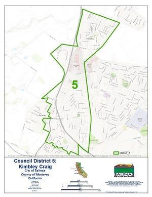Salinas City Council District 5 boundaries.
